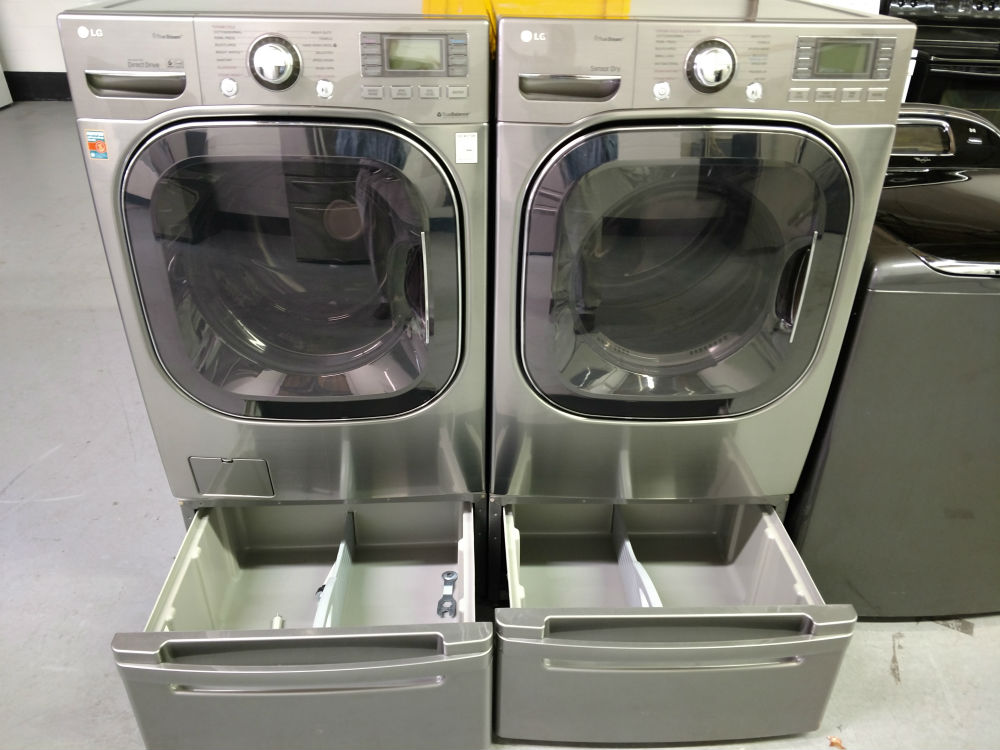 Gray washer and dryer